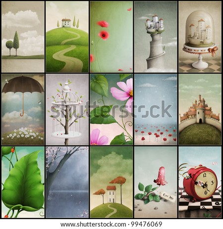 Set of fifteen vintage cards wallpapers for mobile phones Computer Graphics