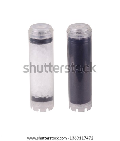 Set of filters isolated on white background. Foamed, pressed coal, granulated, cation exchange resin, carbon polyphosphate post filter with silver ions. Reverse Osmosis Membrane. Purifies water. #1369117472