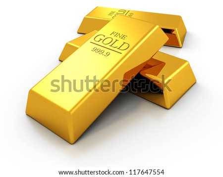 Set of fine gold bars on white background