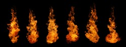 Set of fire and burning flame isolated on dark background for graphic design usage