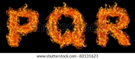 Set of Fire letter P Q R on a black background - stock photo