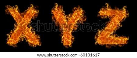 Set of Fire letter XYZ on a black background - stock photo