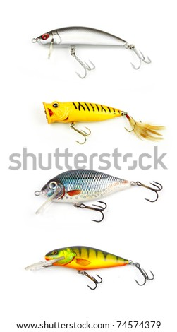 Set of fishing lures isolated on white