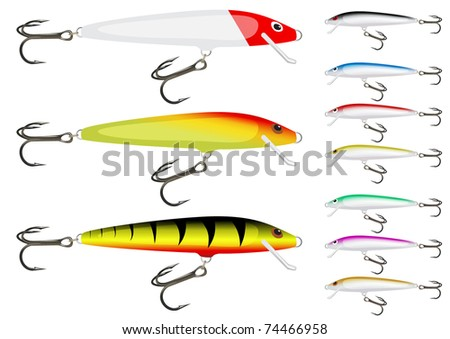 Set of fishing wobbler. Vector version available in my gallery.