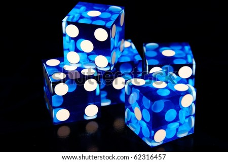 Set of Five Clear Blue Dice