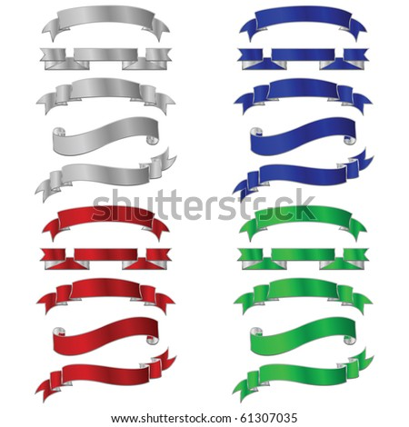 Set of five different colored metallic banners