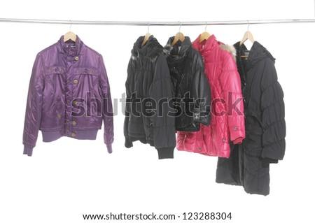 Set of five jacket hanging on hanger
