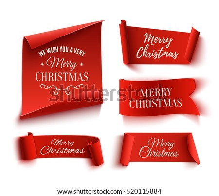 Set of five red, Merry Christmas, realistic, paper banners.