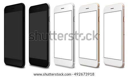 Set of five smartphones gold, rose, silver, black and black polished - blank screen and isolated on white background. 3d illustration.