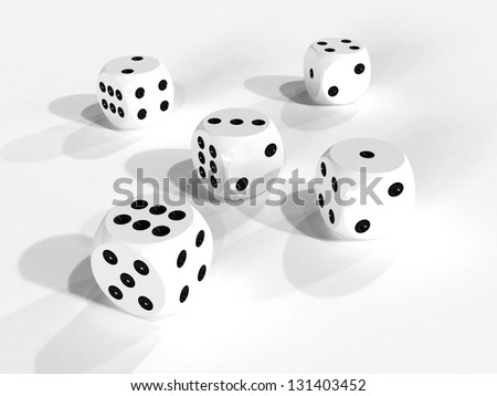 Set of five white gaming dices 3d render