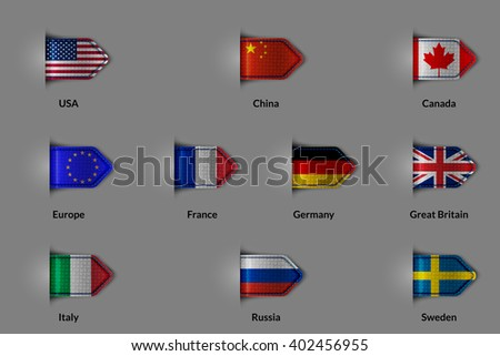 Set of flags in the form of a glossy textured label or bookmark. The unification of Europe and the US China Russia Canada France Germany United Kingdom Italy Sweden.  Rasterized version. #402456955