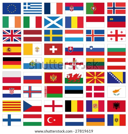 set of flags of all european countries