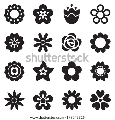 Set of flat flower icons in silhouette isolated on white. Simple retro designs in black and white for stickers, decals, labels and tags.  #179048825