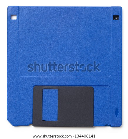 Set of floppy disks in 3.5 inch format with 1.44 MB capacity as commonly used in the late 80s/early 90s as storage medium for computer data. Studio shot, isolated on white background.