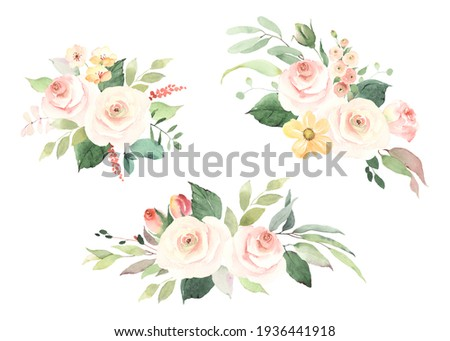 Set of floral decorations with simple roses, leaves and branches. Watercolor collection isolated bouquets on white background for wedding card, invitation, greeting or flowers decors.