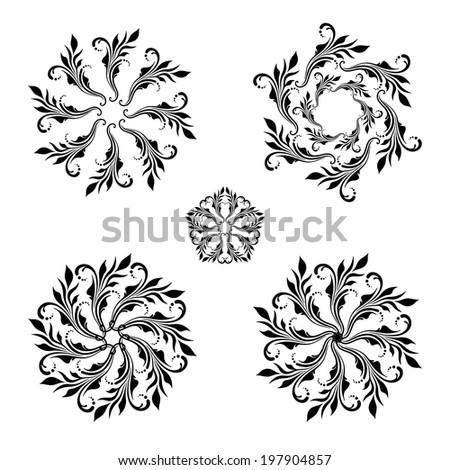 Set of floral round vintage ornaments. Raster version.