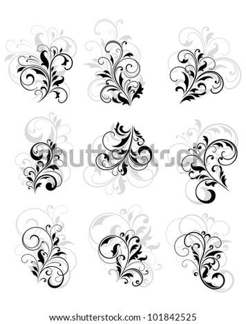 set of flourish design elements ...