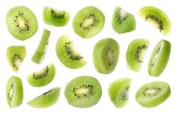 Set of flying cut fresh juicy kiwi on white background