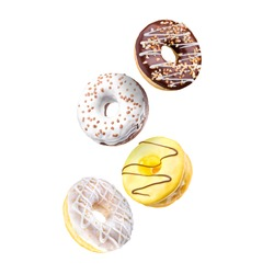 Set of flying glazed donuts with sprinkles on a white background with reflection.