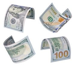 Set of flying one hundred dollars bills. Isolated on white