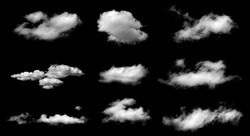 Set of fog, white clouds or haze For designs isolated  on black background