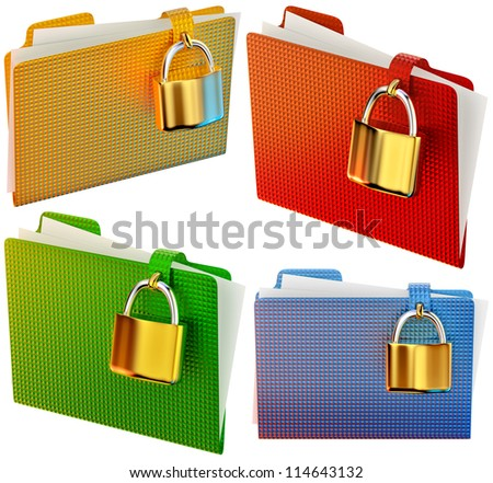 set of folders with golden hinged locks stores confidential documents