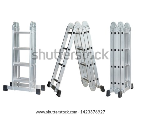 Set of Folding Ladder In the open position on white background. convenient ladders ,Light weight, these ladders fold into a compact bundle for storing or carrying.                  #1423376927