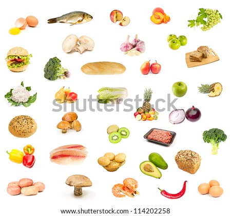 set of food, fruit and vegetables isolated  on a white background
