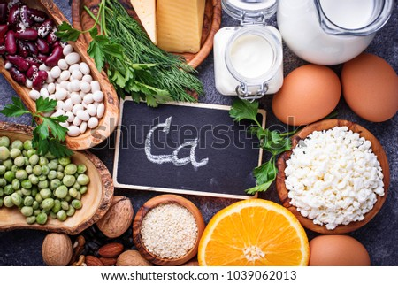 Set of food that is rich in calcium.  Top view Stock photo ©