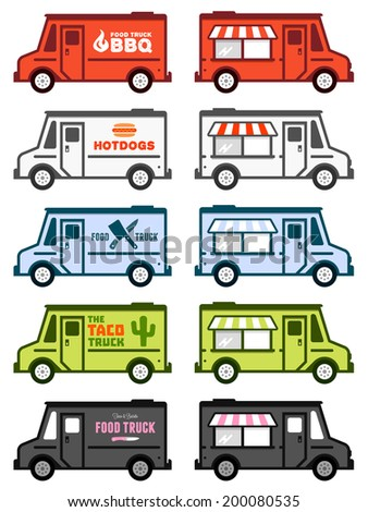 Set of food truck illustrations and graphics
