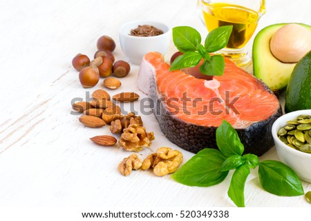 Set of food with high content of healthy fats and omega 3, copy space