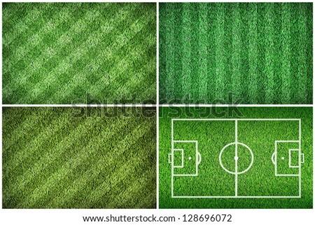Set of football green grass fields