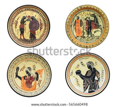 Set of four ancient Greek dishes isolated on white background. On a plate image of Athena, Aphrodite, Achilles and Tethys. Mythical heroes and gods.