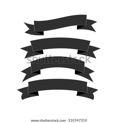 set of four beautiful  festive black ribbons, isolated on background,  in realistic style