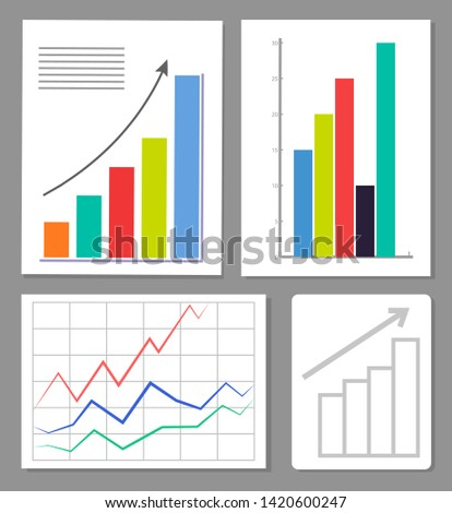 Set of four charts colorful raster illustration statistics data visualization positive growth with varied color pillars abstract grid