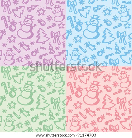 set of four christmas colorful seamless patterns