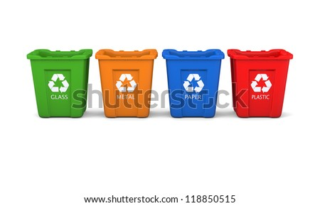 Set of four colored recycle bins isolated on white background
