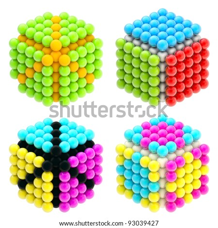 Set of four colorful abstract glossy cubes isolated on white