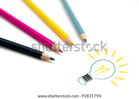 Set of four colorful crayons drawing light bulb, business idea concept