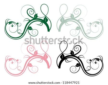 set of four colorful floral whorls of branches