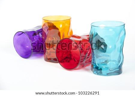 set of four designer glasses for cocktails and bars