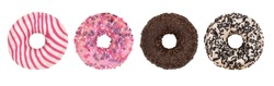 Set of four different glazed donuts isolated on a white background.