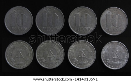 Set of 4 (four) different years vintage DDR East Germany (GDR - German Democratic Republic) 10 Pfennig aluminium coins lot 1965, 1967, 1968, 1970 year.