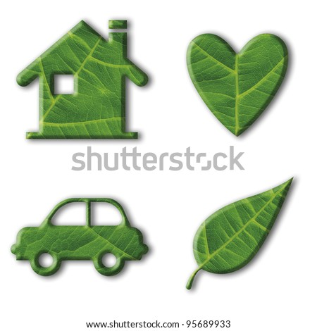 Set of four ecology icons with a closeup picture of a leaf inside. Clipping path included