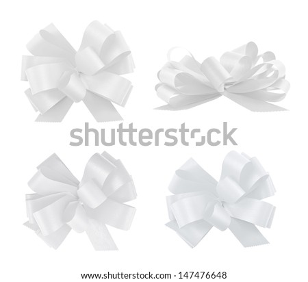 Set of four gift white ribbom bows isolated over white background, set of four foreshortenings