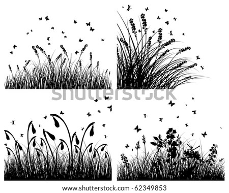 Set of four grass silhouettes background