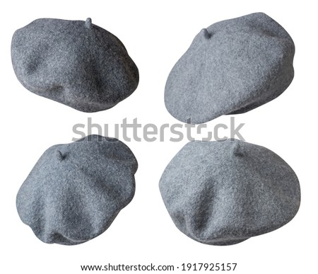 set of four gray beret isolated on white background. Hat female beret back side view. Сток-фото ©