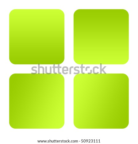 Set of four green eco button isolated on white background with copy space.