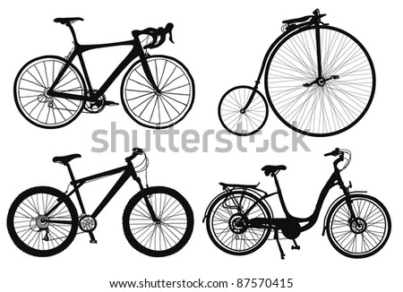 set of four hand draw bicycles silhouettes.
