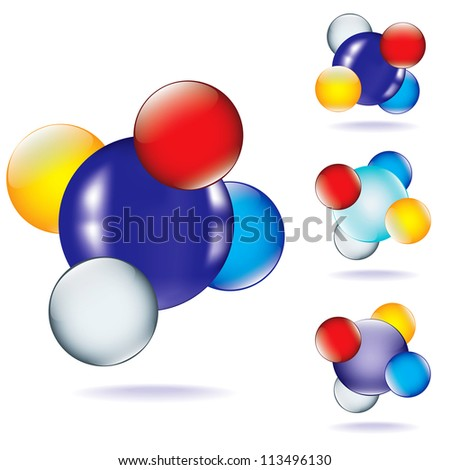 set of four icon with abstract chemical molecular model
